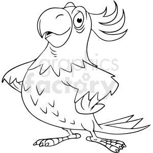 black and white cartoon parrot vector clipart clipart. Commercial use image # 411810