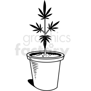 black and white cartoon marijuana plant vector clipart clipart. Commercial use image # 411816