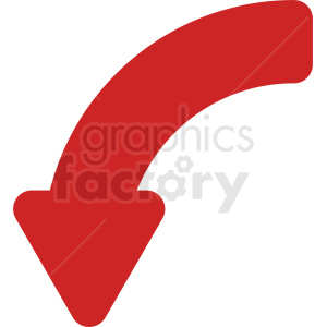 red arrow quater turn vector icon clipart. Commercial use image # 412124
