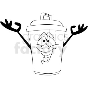 black and white cartoon trash can character clipart. Royalty-free image # 412407