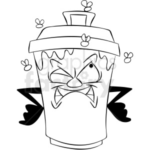 black and white cartoon trash can character mad about flies clipart. Commercial use image # 412411