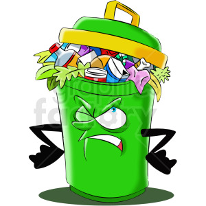 cartoon full trash can character clipart. Commercial use image # 412455