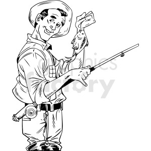 black and white retro guy fishing vector clipart clipart. Royalty-free image # 412463