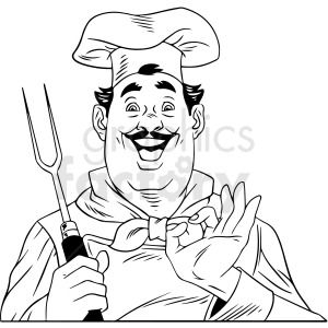 black and white retro chef vector clipart clipart. Royalty-free image # 412475