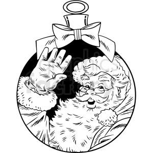 black white vintage santa decoration vector clipart