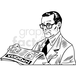 black white vintage male reading newspaper vector clipart clipart. Commercial use icon # 412540