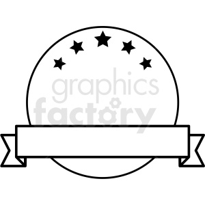 ribbon over circle with stars design vector clipart clipart. Commercial use image # 412575