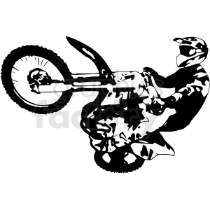 black and white motocross vector illustration clipart. Commercial use image # 412603