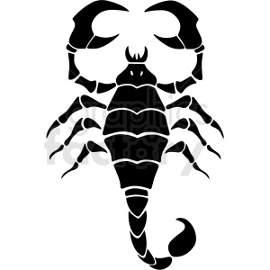 black and white scorpion silhouette vector clipart