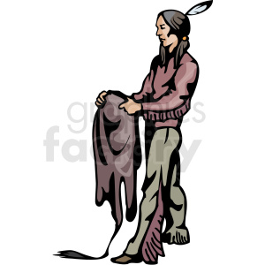 Indian holding animal skin clipart. Commercial use image # 374164
