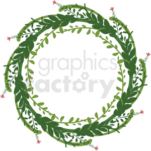 green floral wreath frame vector clipart