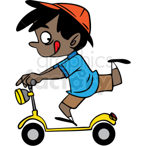 hispanic cartoon child riding a scooter vector clipart. Commercial use image # 412843