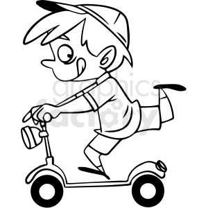 black and white cartoon child riding a scooter vector clipart. Commercial use image # 412864