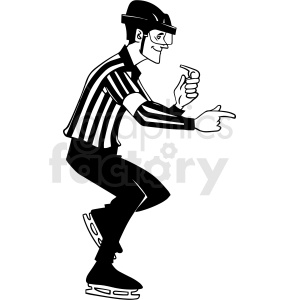 black and white hockey referee penalty call vector clipart clipart. Royalty-free image # 412946