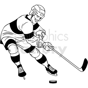 black and white hockey player shooting puck clipart clipart. Commercial use image # 412947