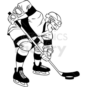 black and white hockey player faceoff clipart clipart. Commercial use image # 412948