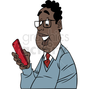 african american man laughing at his phone vector clipart clipart. Commercial use image # 413153