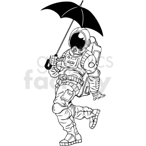 black and white astronaut holding umbrella vector clipart clipart. Royalty-free image # 413160
