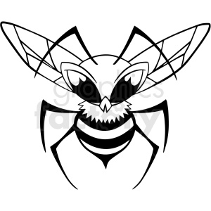 black and white cartoon bee character vector clipart