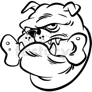 black and white cartoon bulldog head mascot vector clipart clipart. Commercial use image # 413214