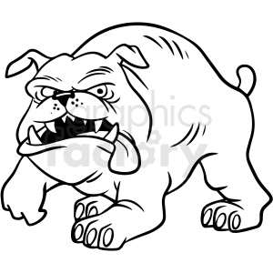 black and white cartoon bulldog vector clipart