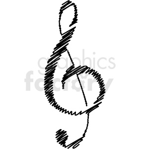 black and white treble clef vector clipart