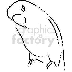 black and white parrot vector clipart clipart. Commercial use image # 413347