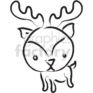 black and white tattoo reindeer vector clipart clipart. Commercial use image # 413361