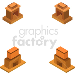isometric fireplace mantel vector icon clipart 1 clipart. Commercial use image # 413991