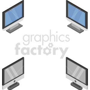 isometric pc monitor vector icon clipart 1