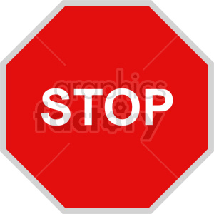 stop sign vector icon clipart 3