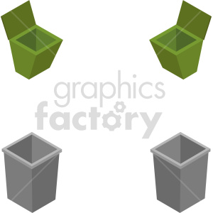 isometric trash vector icon clipart 1