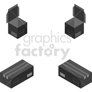 isometric black box vector icon clipart 1 clipart. Commercial use image # 414435