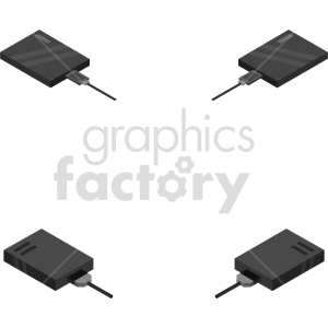 isometric hard disk vector icon clipart bundle clipart. Commercial use image # 414528
