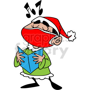 Christmas caroling wearing mask vector clipart