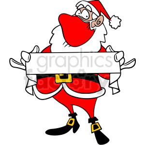Santa wearing mask holding blank sign vector clipart clipart. Commercial use image # 414692