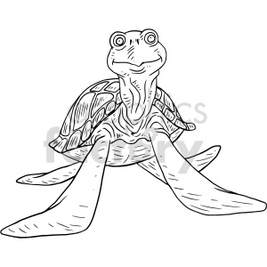 sea turtle black and white clipart