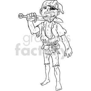 pirate black and white clipart clipart. Commercial use image # 414778