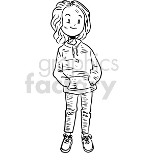 hoodie goth girl black and white clipart clipart. Commercial use image # 414788