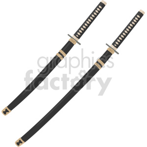 two katanas vector graphic clipart. Commercial use image # 414825