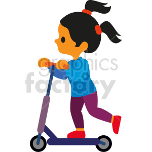 clipart - cartoon kid riding scooter vector clipart.
