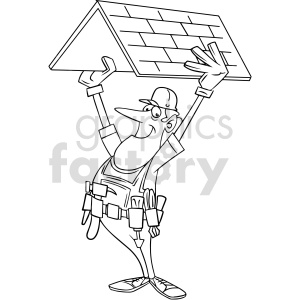 cartoon roofer black white vector clipart clipart. Commercial use image # 415041