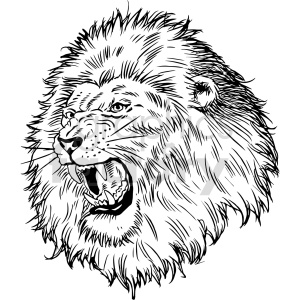 lion head black and white clipart clipart. Commercial use image # 415050