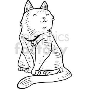 bell cat vector graphic clipart. Commercial use image # 415145