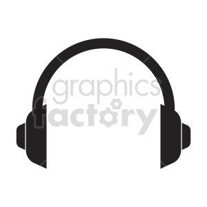 silhouette stereo headphones vector icon clipart. Commercial use image # 415235