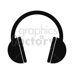 silhouette headphones vector icon