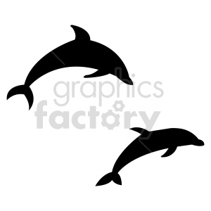 dolphins jumping vector shapes clipart. Commercial use image # 415953