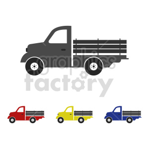 clipart - old pickup truck vector graphic.