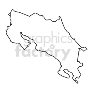 Costa Rica vector clipart outline clipart. Commercial use image # 416092