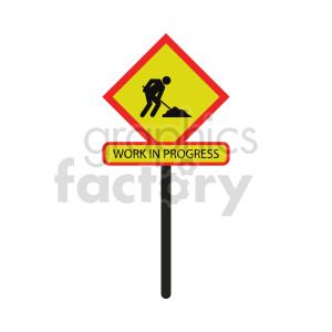 work in progress street sign vector icon clipart. Commercial use image # 416356
